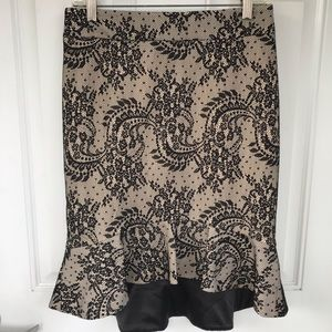 Bebe black lace overlay skirt with high low hem